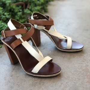 Tory Burch Marbella White Tan Block Heel Sandals